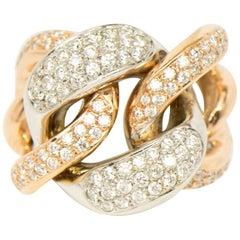Diamond 18 Karat White and Rose Gold Interlocking Links Ring