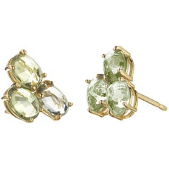 18 Karat Yellow Gold Green Sapphire, 3.41 Carat Ombré Stud Earring Set