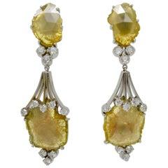 7.98 Carat Natural Yellow Slice Diamond Earrings
