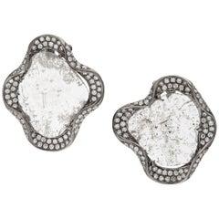 Slice Diamond Curvilinear Earrings with Diamonds Set in 18 Karat Gold