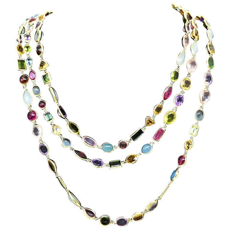 Eclat Yellow Gold Multi Colored Stone Necklace