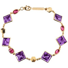 18 Karat Yellow Gold Florentine Bracelet with Amethyst and Oval Rubies