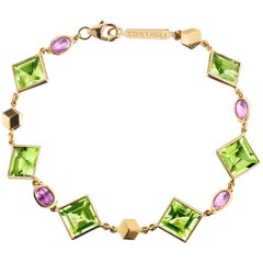 18 Karat Yellow Gold Florentine Bracelet with Peridot and Pink Sapphires