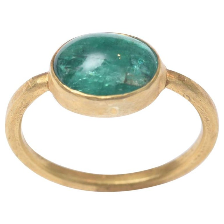 Cabochon Emerald and 22 Karat Gold Ring For Sale