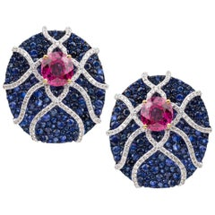 Umrao Sapphire Diamond and Spinel Ear Clips
