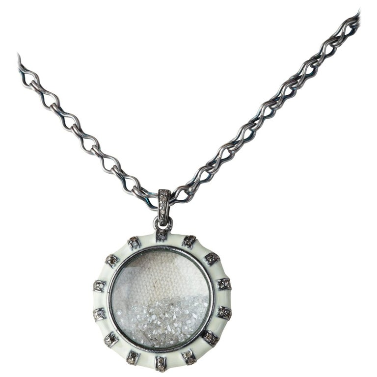 Long, White Enamel and Sterling Silver Frame Pendant with Loose Diamonds