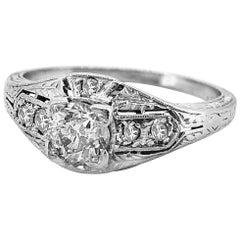 Art Deco Antique Engagement Ring .35 Carat Diamond Platinum