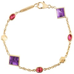 18 Karat Yellow Gold Florentine Station Bracelet with Amethyst and Rubies