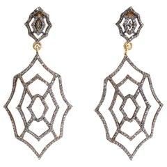 Pair of Diamond Spider Web Drop Earrings
