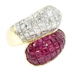 Diamond and Ruby Bypass Illusion Set 18 Karat Ring