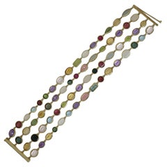 Eclat Yellow Gold Multicolored Stones Bracelet