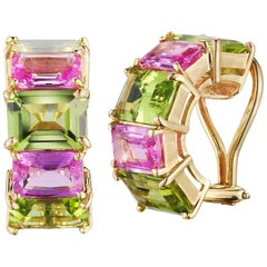 18 Karat Yellow Gold Florentine Earrings Set with Peridots and Pink Sapphires
