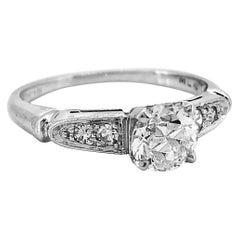 Art Deco .70 Carat Diamond Platinum Engagement Ring