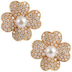 "Diamond and Pearl Flower Earrings, Signed ""Van Cleef & Arpels"""