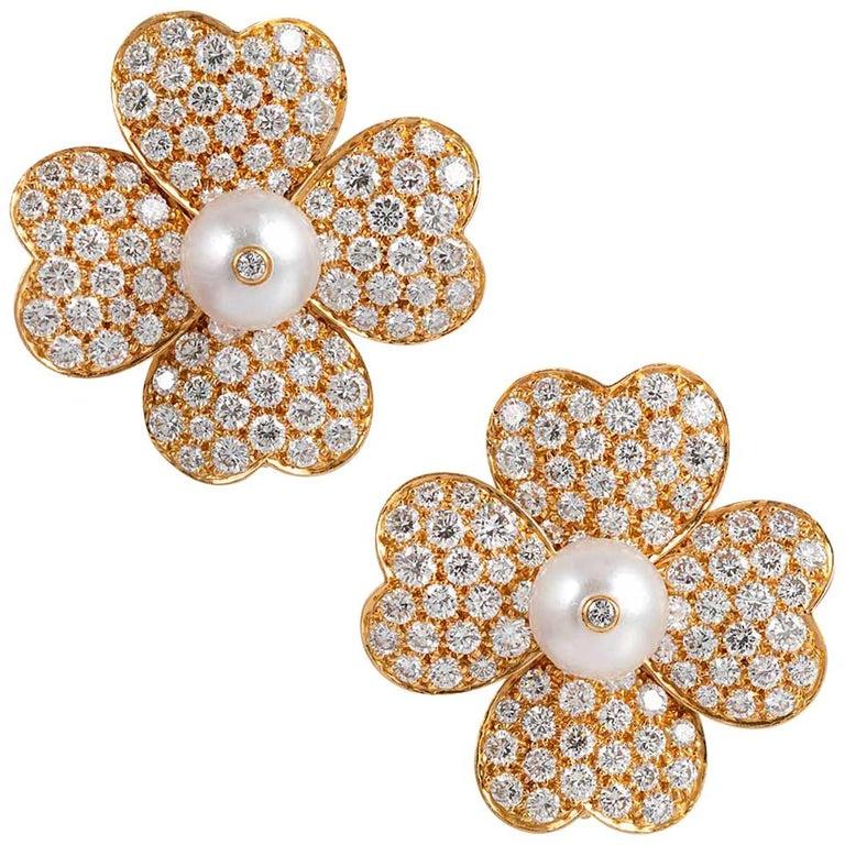 """Diamond and Pearl Flower Earrings, Signed """"Van Cleef & Arpels"""" For Sale"""