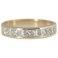 1980s 1 Carat Total Diamond Eternity Band in 14 Karat Yellow Gold