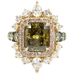 GIA Certified 3.02 Carat Fancy Brown-Greenish Yellow Diamond Cocktail Ring
