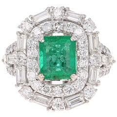 5.06 Carat Emerald Diamond 18 Karta White Gold Art-Deco Inspired Cocktail Ring