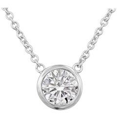 0.79 Carat Round Diamond Bezel Solitaire Pendant Necklace