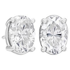 2.27 Carat Total Oval Cut Diamond Stud Earrings