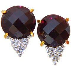 20.33 Carat Natural Garnet Diamond Earrings 14 Karat Round Rose Cut