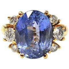 10.80 Carat Blue Ceylon Sapphire Diamond Engagement Ring Certified No Heat