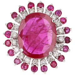 13.68 Carat Ruby Diamond White Gold Cocktail Ring
