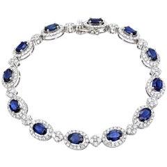3.22 Carat Diamond 6.56 Carat Royal Blue Sapphire 14 Karat White Gold Bracelet