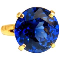 5.70 Carat Synthetic  Sapphire Diamonds Ring Kashmir Blue