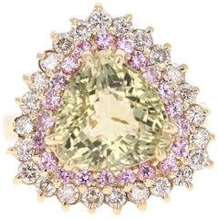 6.46 Carat Tourmaline Sapphire Diamond Yellow Gold Cocktail Ring