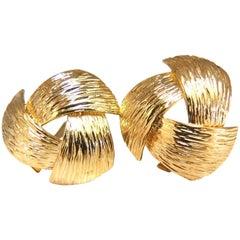 14 Karat Three-Dimensional Bark Finish Clip Earrings