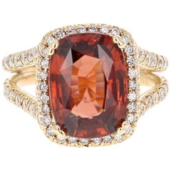 9.37 Carat Spessartine Garnet Diamond Yellow Gold Engagement Ring