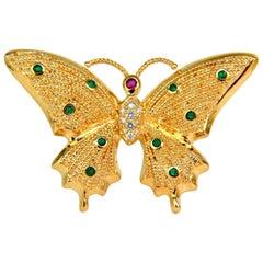 .80 Carat Natural Emerald Diamonds 3D Butterfly Pin 14 Karat