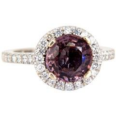 2.90 Carat Natural Vivid Purple Spinel Diamonds Halo Ring 14 Karat