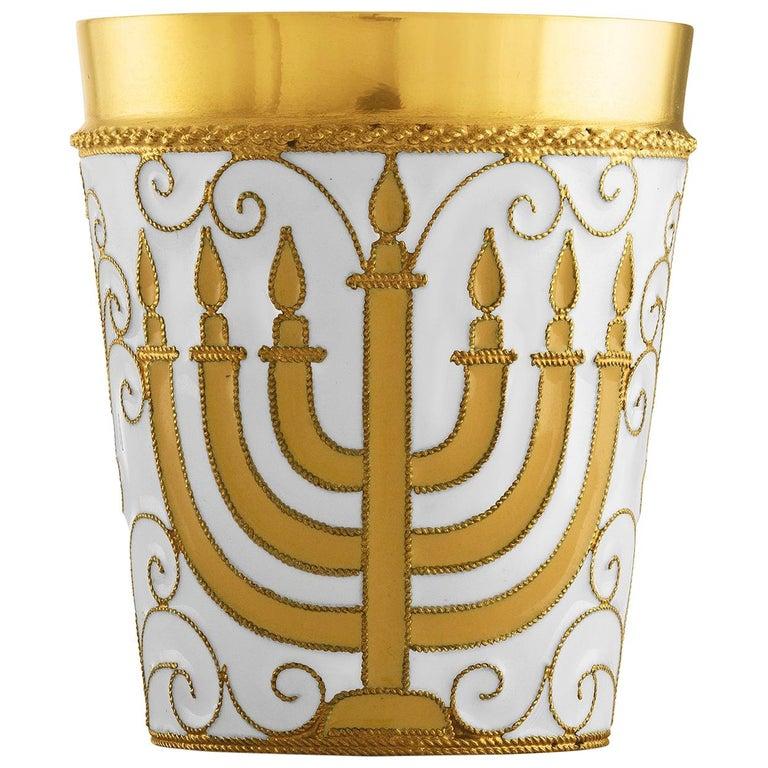 Russian Kiddush Cup Menorah 24 Karat Gold Plated Sterling Silver with Enamel