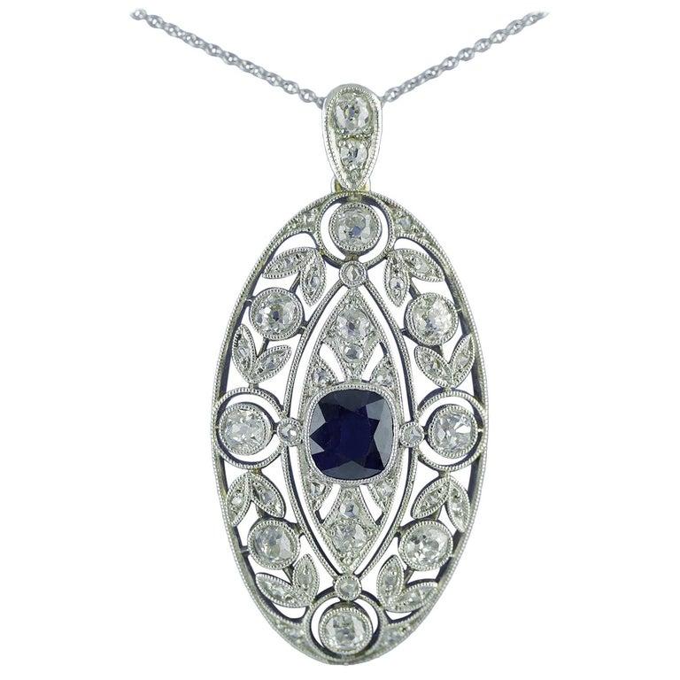 Art Nouveau Diamond Sapphire Pendant, circa 1910