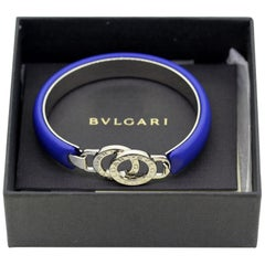 Bvlgari, New Ladies Leather and Steel Bangle or Bracelet, Made in Italy
