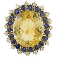 Topaz Blue Sapphires White Diamonds Rose Gold Ring
