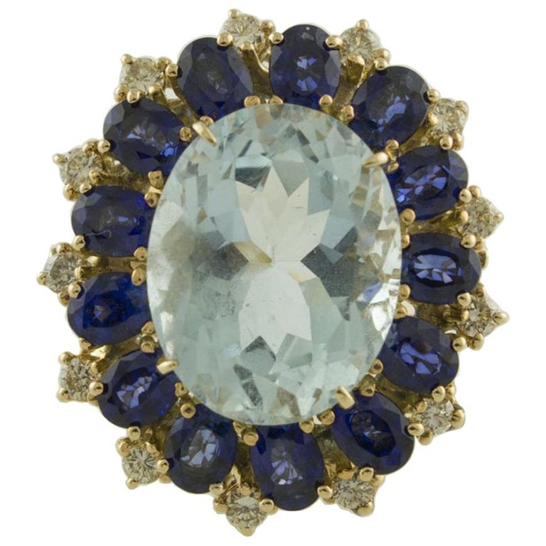 Aquamarine Blue Sapphires White Diamonds Rose Gold Ring