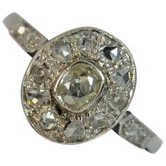 Edwardian 0.50 Carat Old and Rose Cut Diamond Platinum Halo Cluster Ring