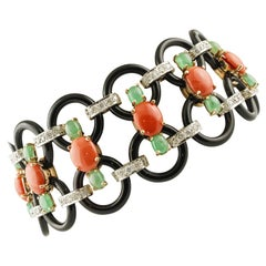 White Diamonds Onyx Emeralds Coral White Gold Link Bracelet