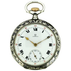 Antique Omega Silver and Niello Pocket Watch, circa 1910