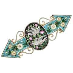 Antique Victorian Micro Mosaic Dove Brooch, circa 1860