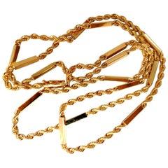 14 Karat Gold Bar Rope Twist Link Necklace