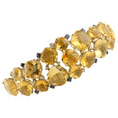 Diamonds Blue Sapphires Topazes White Gold Bracelet