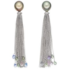 18 Karat Tahiti Pearl Sapphire Briollette Tassel Cocktail Earrings