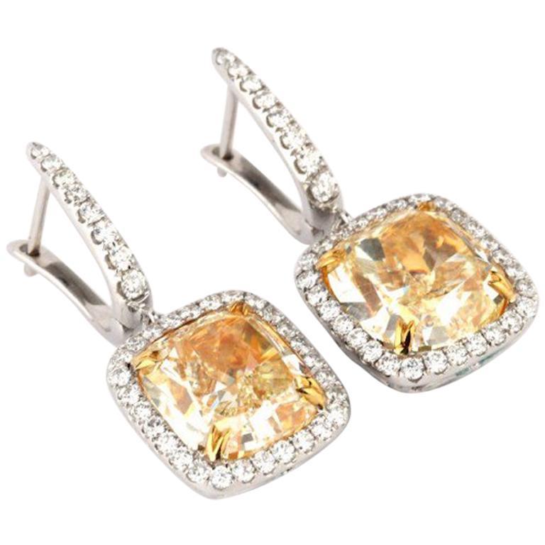 10.7 Carat Fancy Yellow Diamond Drop Earrings