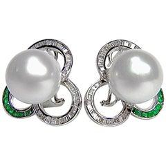 Designer White South Sea Pearl Diamond Emerald Earrings 18 Karat