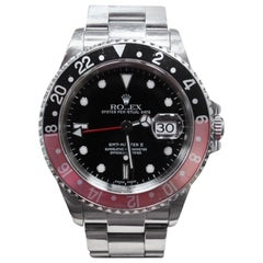 Rolex GMT Master II 16710 Black & Red Coke Bezel Stainless Steel Box & Papers