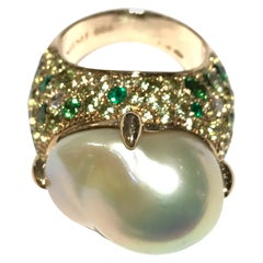 Mimi Boroque Pearl and Multi Stone Cocktail Ring